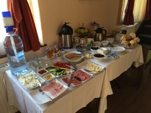 The breakfast buffet at Casa Reims, Brasov Romania 2015