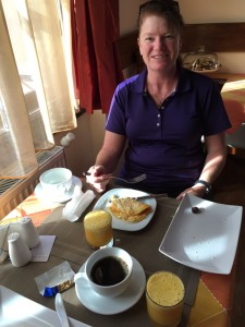 Cass eating her omlete for breakfast freshly whipped up at Casa Reims, Brasov Romania 2015