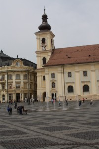 The main square, Piata Mare in Sibiu Romania 2015