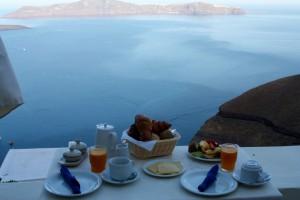 Breakfast at the Enigma Appartments, Thira, Santorini, Greece 2015