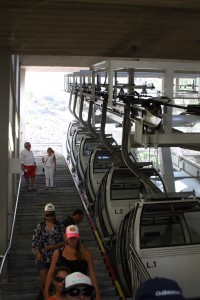 Waiting for the cable car back up to the top from the Harbour, Fira Santorini, Greece 2015