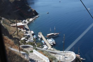 The view from the cable car on the way back up from the harbour and market, Fira Santorini Greece 2015