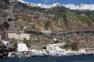 The view of Fira from the water on our sailing trip, Santorini Greece 2015