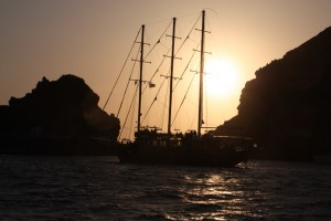 All the boats were jocking for position in antisipation of the sunset onn our sailing trip from Oia, Santorini Greece 2015