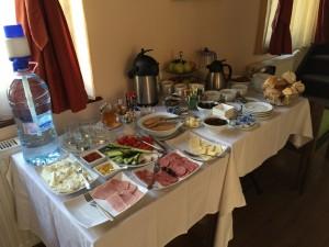 The breakfast buffet at Casa Reims, Brasov Romania 2015
