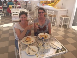Ok so you can not see the view because we're facing it but hey lunch was good, Oia Santorini Greece 2015