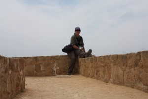 Cass taking a breather whilst exploring the 'Tomb of the Kings', Pafos, Cyprus 2015