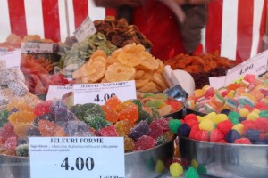 Sugar overload in the market on the streets of Brasov, Romania 2015