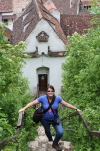 Cass climbing to the White Tower from Bastionul Graft, Brasov, Romania 2015
