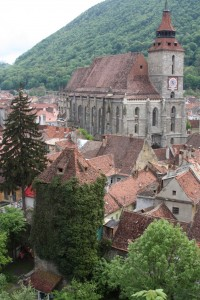 The old town and Black Church from the Black Tower, Brasov, Romania 2015