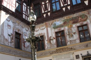 Paintings on the wall of one of the courtyards of Peles Castle, Sinaia Romania 2015