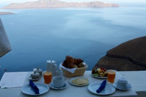 Breakfast at the Enigma Appartments, Thira, Santorini, Greece 2015