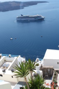 The view from the apartment in Fira, Santorini Greece 2015