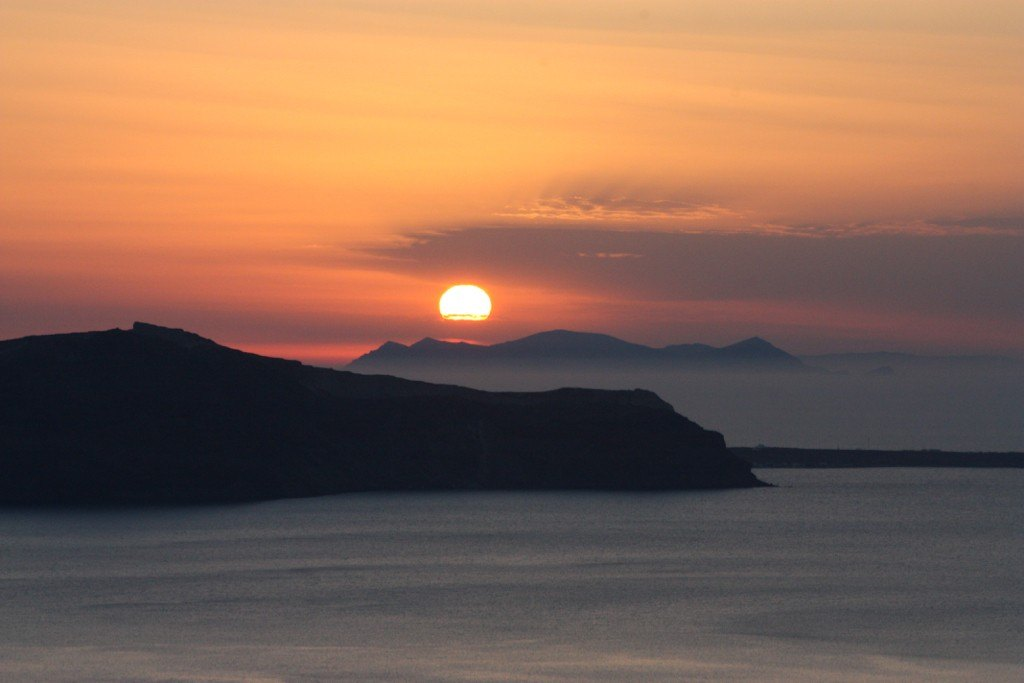 Enjoying the sunset from the balcony of our appartment on Santorini Greece 2015